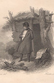 Napoléon devant un feu de camp à l'île de Sainte-Hélène