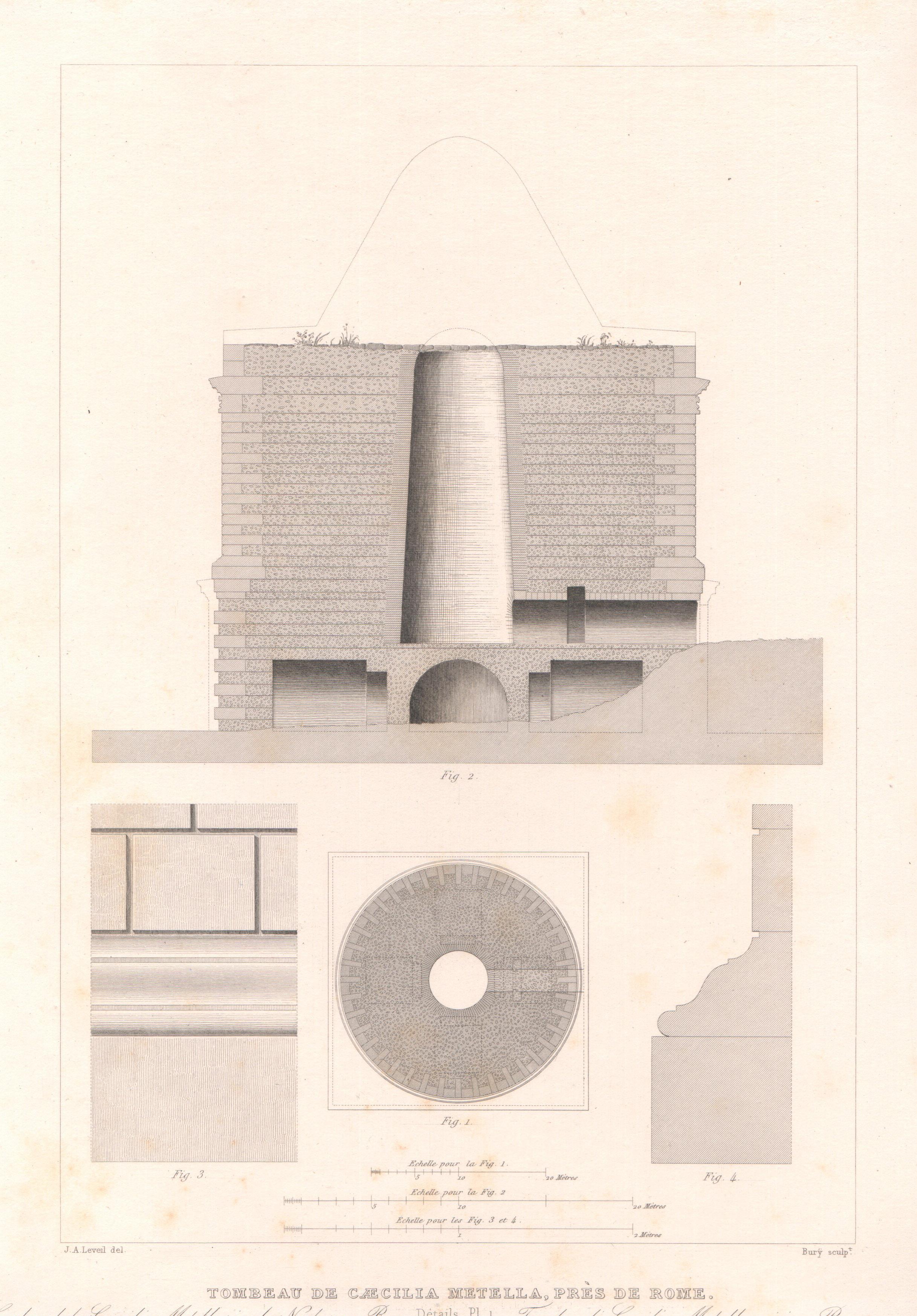 Italy - Antique Monuments - Roma - Caecilia Metela's Mausoleum - Castrum Caetani - Via Appia Antica - Details