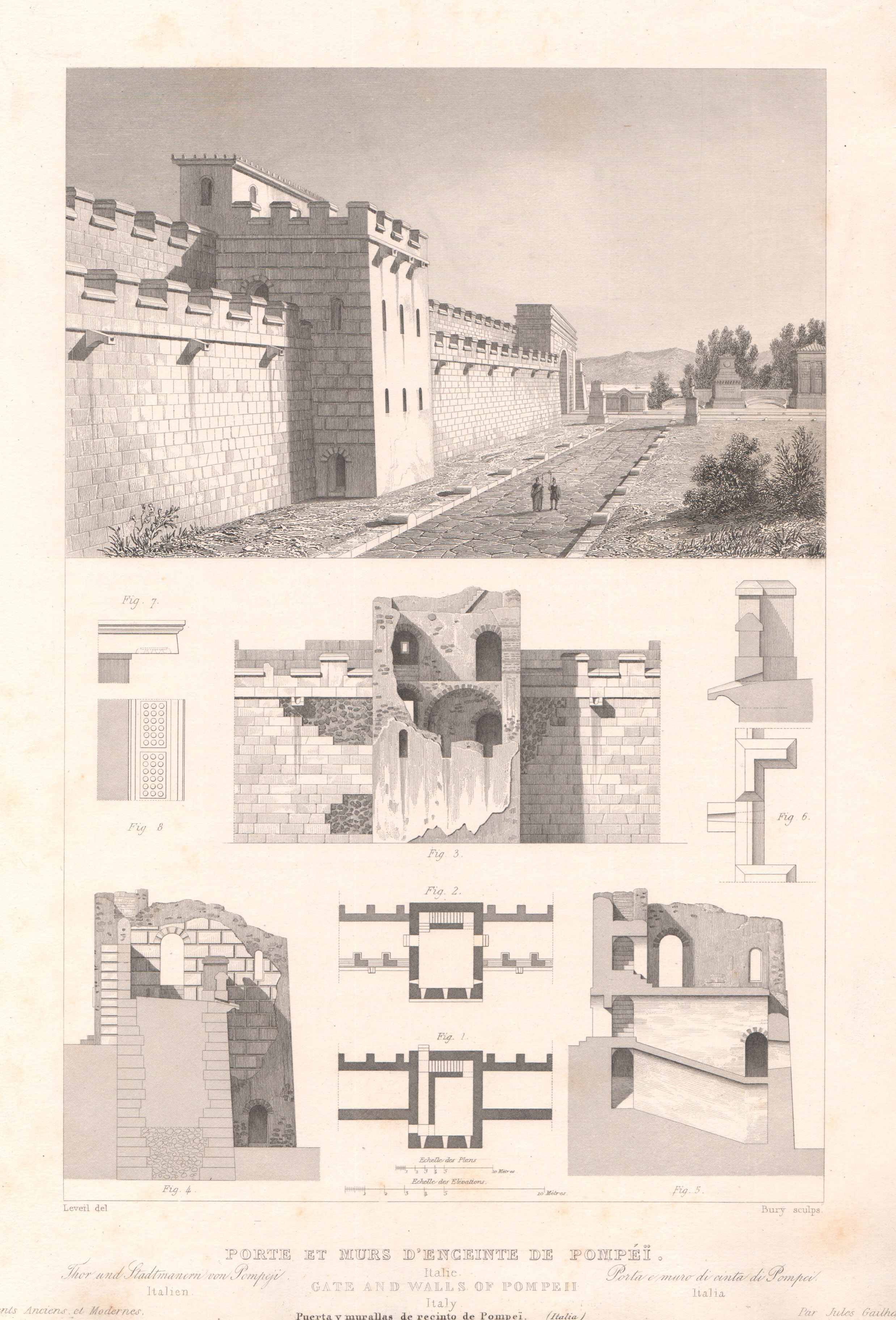 Italy - Antique Monuments - Gate and Walls of Pompei - Campania - Naples