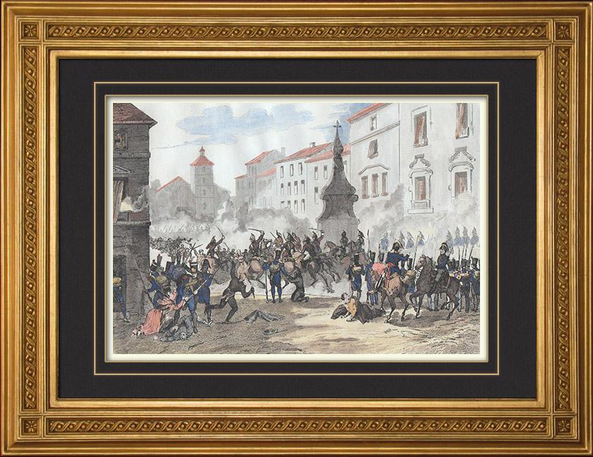 Gravures Anciennes & Dessins | Guerre d'Indépendance Espagnole - Insurrection de Madrid - Soulèvement du Dos de Mayo (2 mai 1808)  | Taille-douce | 1835