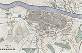 Antique map - Siege of Saragossa - Zaragoza (1808) -