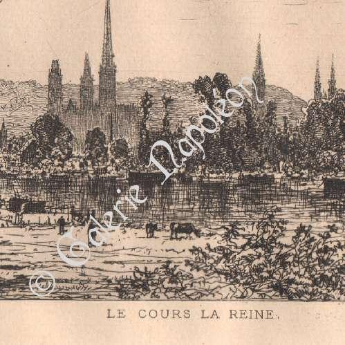 gravures anciennes vue de rouen cours la reine france gravure l 39 eau forte 1883. Black Bedroom Furniture Sets. Home Design Ideas