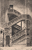 View of Rouen - Cathedral - Stairs of Library (France)