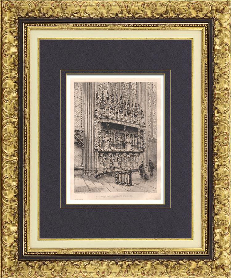 Gravures Anciennes & Dessins | Vue de Rouen - Cathédrale - Tombeau des Cardinaux d'Amboise (France) | Gravure à l'eau-forte | 1879
