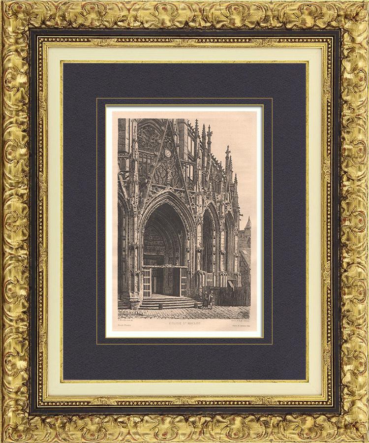Gravures Anciennes & Dessins | Vue de Rouen - Eglise Abbatiale Saint Maclou (France) | Gravure à l'eau-forte | 1884