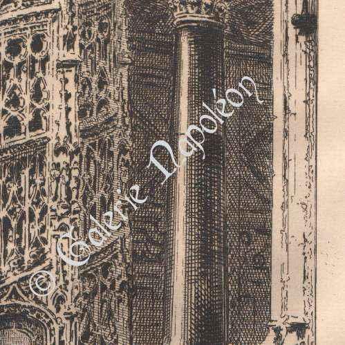 gravures anciennes vue de rouen eglise abbatiale saint maclou orgue escalier gothique. Black Bedroom Furniture Sets. Home Design Ideas