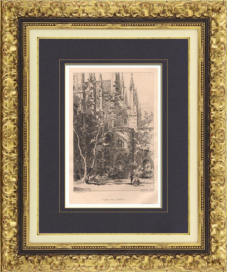 Gravures Anciennes & Dessins | Vue de Rouen - Eglise abbatiale Saint Ouen - Tour aux Clercs - Absidiole (France) | Gravure à l'eau-forte | 1882