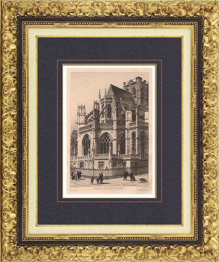 Gravures Anciennes & Dessins | Vue de Rouen - Abside de l'Eglise Saint Vincent (France) | Gravure à l'eau-forte | 1884