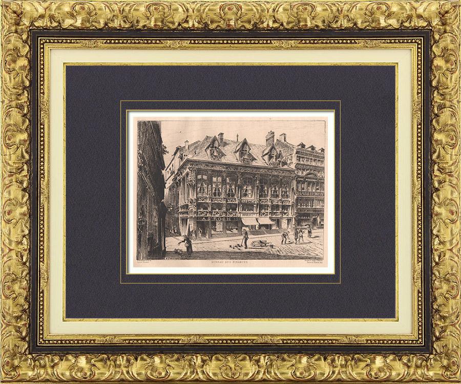 Gravures Anciennes & Dessins | Vue de Rouen - Bureau des Finances (France) | Gravure à l'eau-forte | 1880
