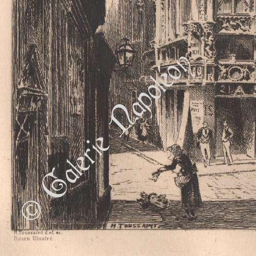 alte stiche ansicht von rouen bureau des finances frankreich tzradierung 1880. Black Bedroom Furniture Sets. Home Design Ideas