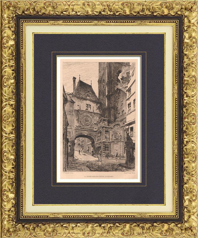 Gravures Anciennes & Dessins   Vue de Rouen - Le Gros-Horloge (France)   Gravure à l'eau-forte   1880