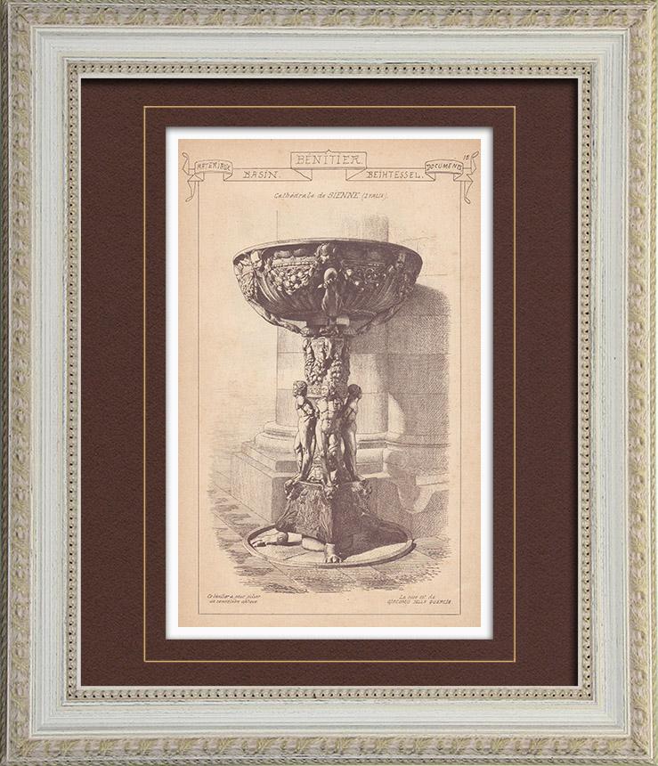 Gravures Anciennes & Dessins | Bénitier - Cathédrale de Sienne - Italie | Gravure | 1895