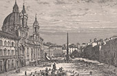 View of Rome - Piazza Navona - Church Sant'Agnese in Agone (H. Clerget)