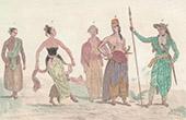 Java - Indonesien - Man och Kvinna av Folket - Folkdr�kt - Krig Kostym - Ronguin - Dansare