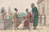 Timor - Chinese Women playing Chess - Costumes of women (Indonesia)