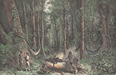 Indianer - Oyampis - R�uchern eines Tapir - Fluss Oyapock (Franz�sisch-Guayana)