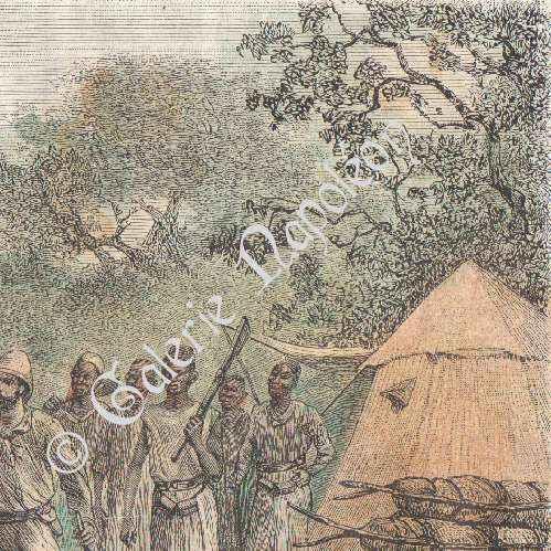 gravures anciennes sorci re men e au b cher zambu mozambique gravure sur bois 1886. Black Bedroom Furniture Sets. Home Design Ideas