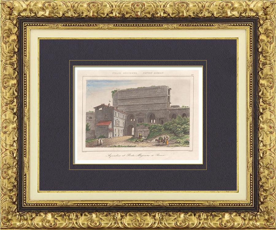 Gravures Anciennes & Dessins | Italie Antique - Empire Romain - Aqueduc de l'Aqua Claudia - Porta Maggiore - Porte Majeure (Rome) | Taille-douce | 1850