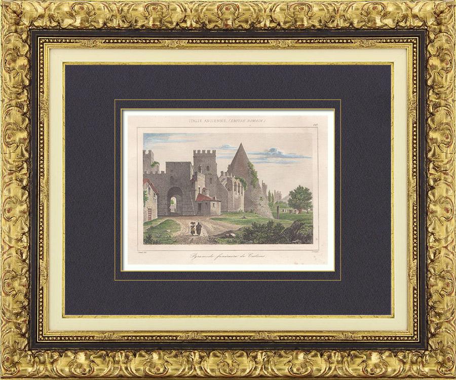 Gravures Anciennes & Dessins   Italie Antique - Empire Romain - La Pyramide de Caius Cestius (Rome)   Taille-douce   1850