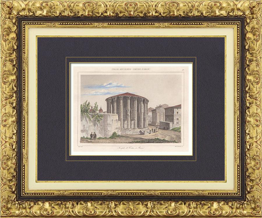 Gravures Anciennes & Dessins   Italie Antique - Empire Romain - Temple de Vesta - Forum Romain - Forum Romanum (Rome)   Taille-douce   1850