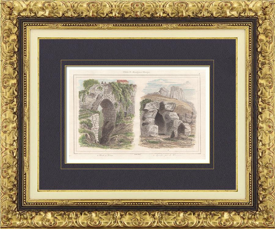 Gravures Anciennes & Dessins   Pont Antique à Cori - Aqueduc près de Terracine - Latium (Italie)   Taille-douce   1850