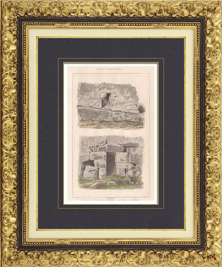 Gravures Anciennes & Dessins | Italie Antique - Porte de l'Acropole d'Alatri - Porte à Norba - Latium | Taille-douce | 1850