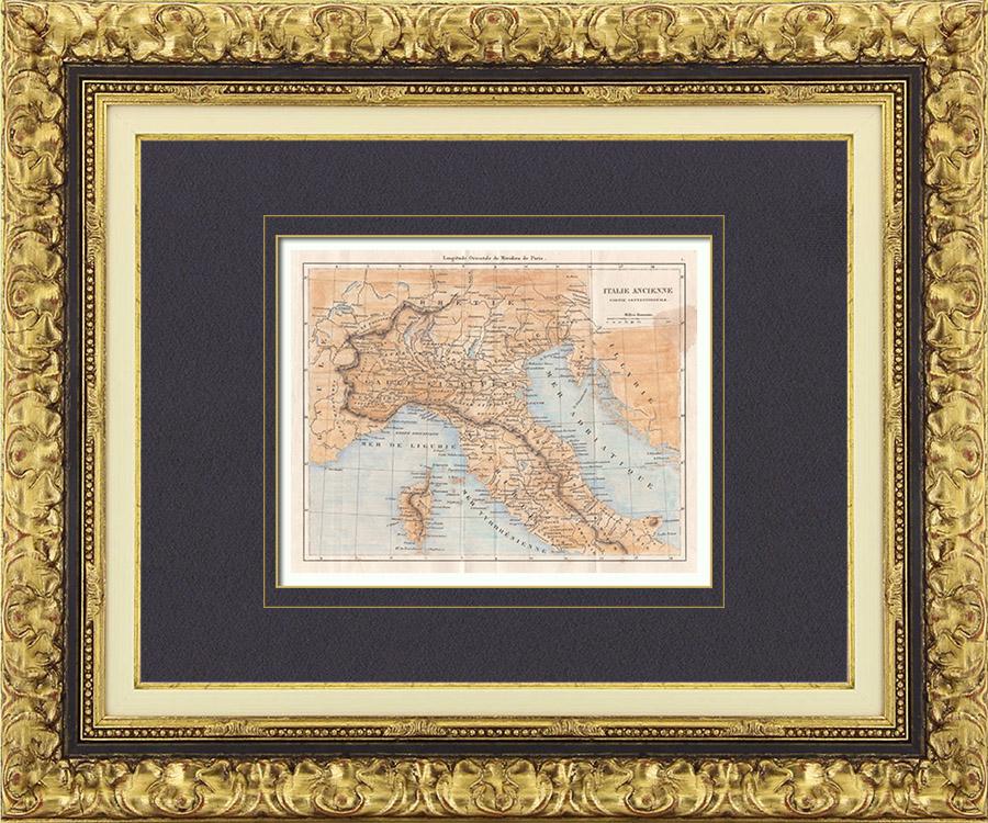 Gravures Anciennes & Dessins | Italie Antique - Ancienne carte - Partie Septentrionale | Taille-douce | 1850