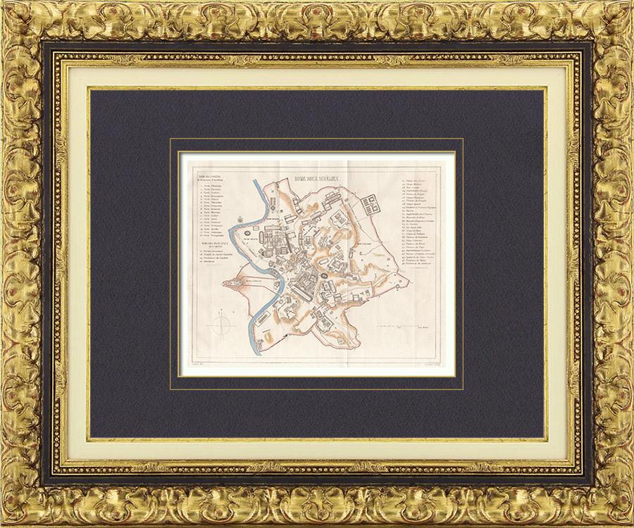 Gravures Anciennes & Dessins   Italie Antique - Ancienne carte - Rome sous le Règne de Aurelien   Taille-douce   1850