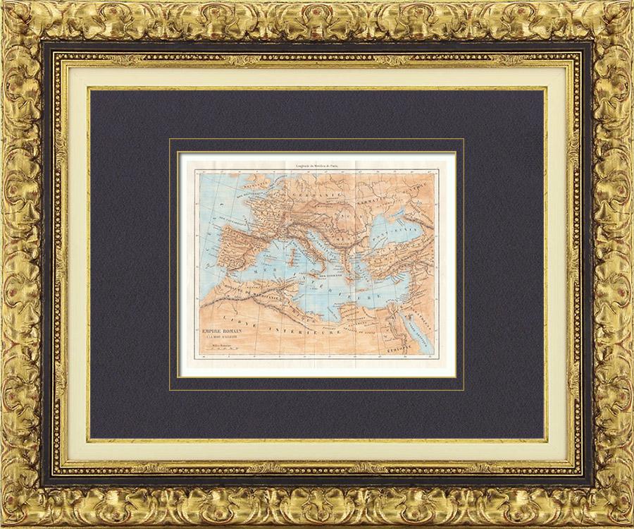 Gravures Anciennes & Dessins | Ancienne carte - Empire Romain en 14 après Jésus-Christ - Mort d'Auguste, Empereur romain | Taille-douce | 1850