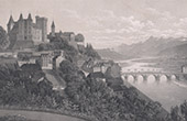 View of the Pyrenees - Castle - Ch�teau de Pau and Juran�on Bridge - B�arn - Midi-Pyr�n�es (Pyr�n�es-Atlantiques - France)
