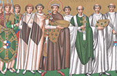 Court of Emperor Justinian I, Archbishop Maximian, Court officials - Mosaik - Basilica of San Vitale in Ravenna (Italy)