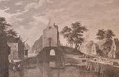 Peinture Flamande - Ecluse dans le centre d'un village Hollandais (Brueghel de Velours)