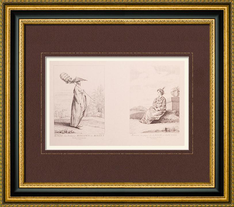 Gravures Anciennes & Dessins | Peinture française - Bonze des Tartares - Moghol - Femme de Lassa - Bhoutan (Watteau) | Impression | 1860