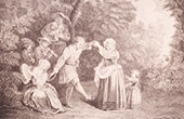 French painting - La Danse Champ�tre - The Country Dance (Watteau)