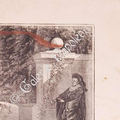 Stampe antiche stampa di pittura francese commedia for Stampe di campagna francese