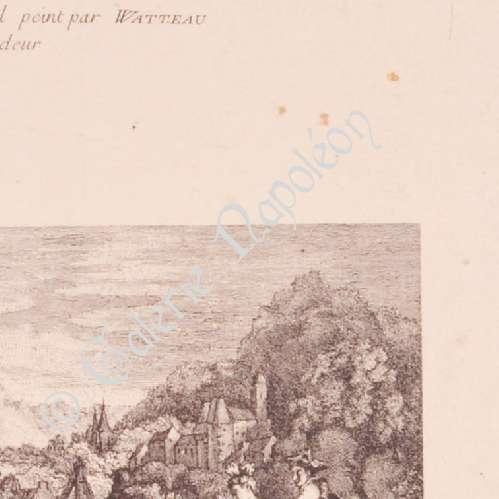 Stampe antiche stampa di pittura francese le galant for Stampe di campagna francese
