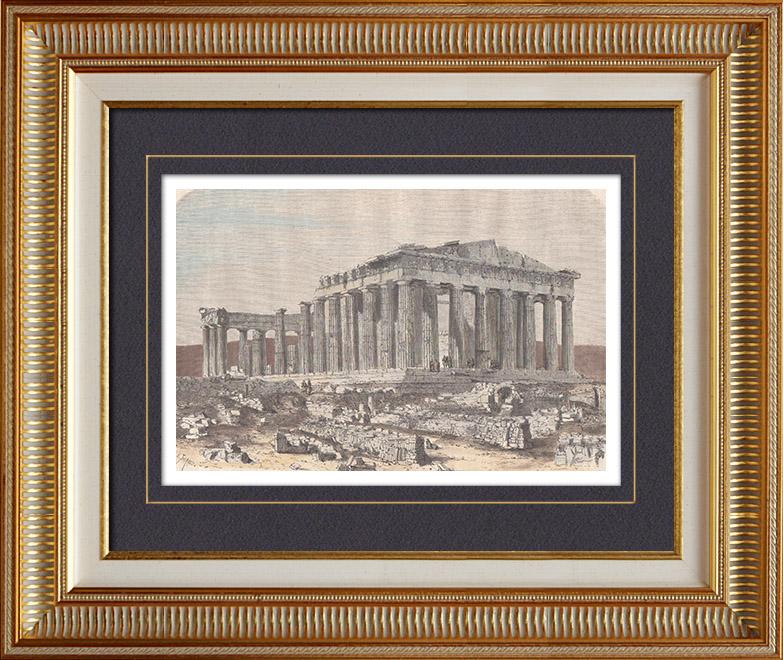 Gravures Anciennes & Dessins | Parthénon - Acropole d'Athènes (Grèce) | Gravure sur bois | 1862