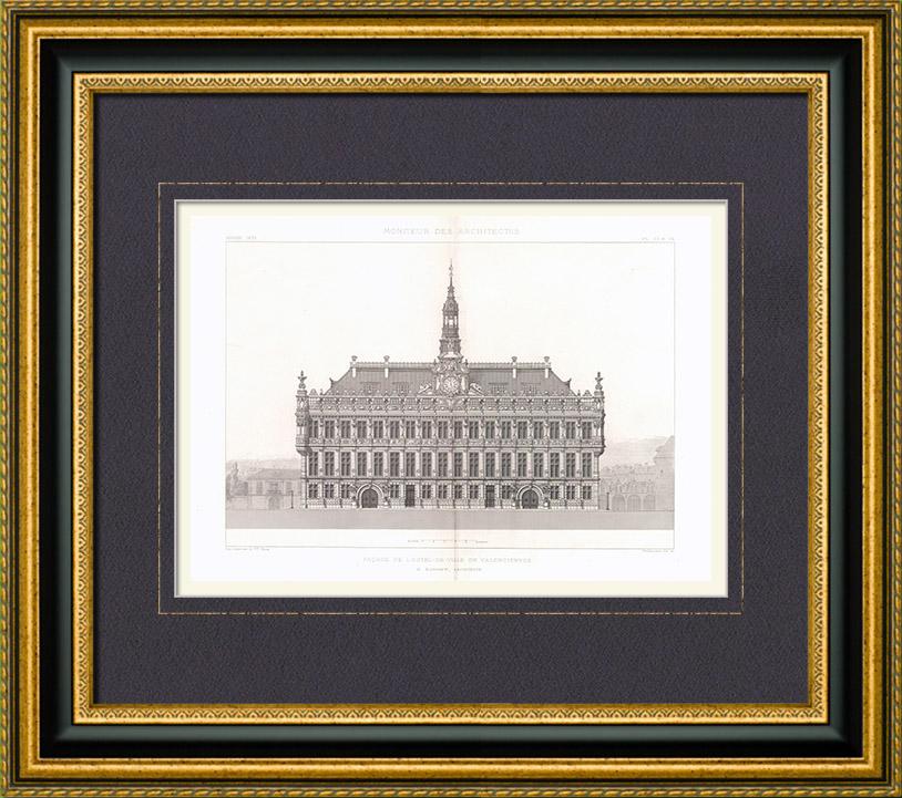 Gravures anciennes gravure de hotel de ville de for Architecte pas de calais