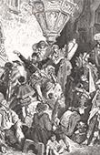 Don Quichotte par Gustave Dor� - Chapitre LI - Ce que raconta le Chevrier � tous ceux qui emmenaient Don Quichotte 1/2