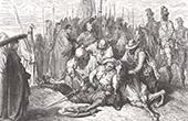 Don Quichotte par Gustave Dor� - Chapitre LII - Querelle entre Don Quichotte et le Chevrier, et la surprenante aventure des P�nitents blancs 2/2