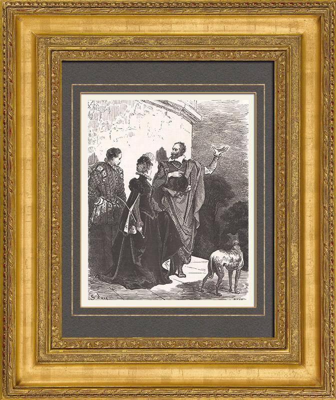 Gravures Anciennes & Dessins | Don Quichotte par Gustave Doré - Chapitre LVII - Ce qui arriva à Don Quichotte avec l'effrontée et discrète Altisidore | Gravure sur bois | 1869