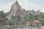 Iles du Pacifique - Polyn�sie fran�aise - Vue de Moorea devant le Mont Rotui (Collectivit� d'outre-mer - France)