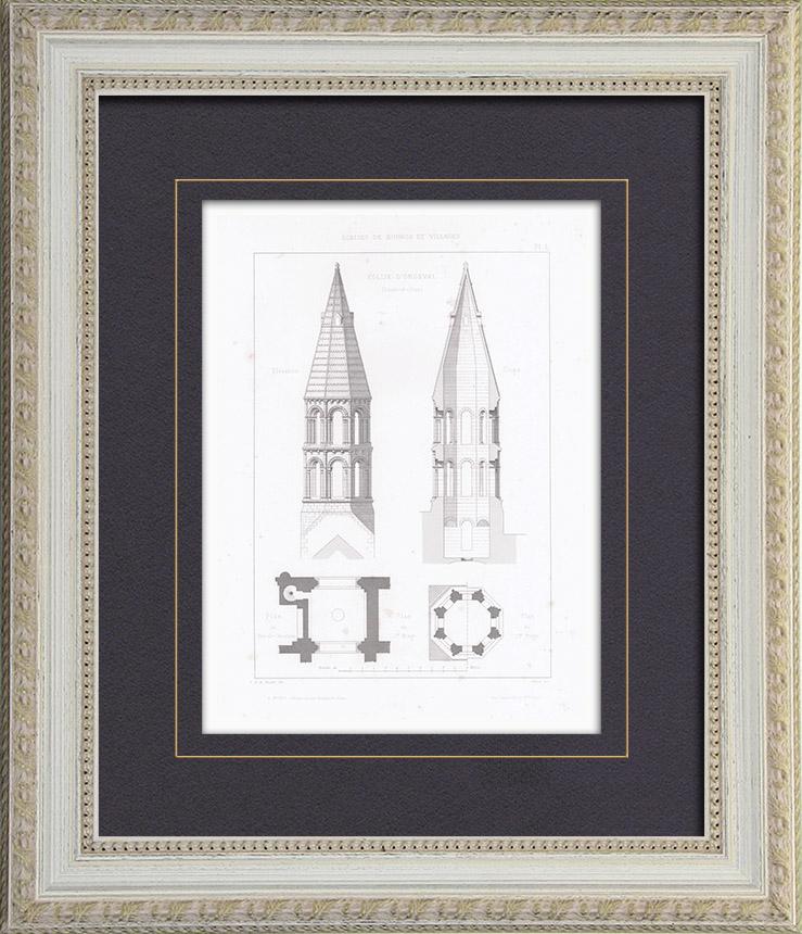 gravures anciennes clocher glise saint pierre saint paul d 39 orgeval ile de france. Black Bedroom Furniture Sets. Home Design Ideas