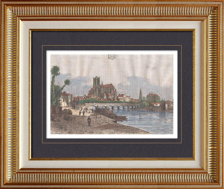 gravures anciennes vue d 39 auxerre bourgogne yonne france gravure sur bois 1881. Black Bedroom Furniture Sets. Home Design Ideas