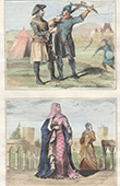 Portraits - Costume - XIIIth Century - England - English Soldiers - Countess of Lancastre - Reign of Henry III of England
