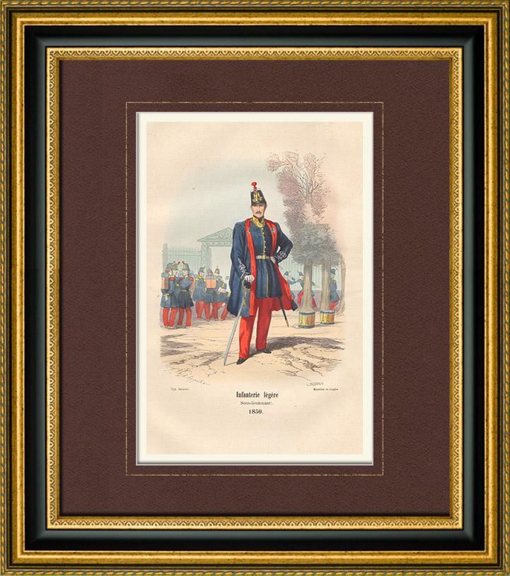 Gravures Anciennes & Dessins   Armée Française - Uniforme Militaire - Infanterie légère (1850)   Taille-douce   1850