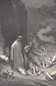 Dante's Hell - Inferno - Gustave Dor� - Chapter XLV -  Simoniacs - Pope Nicholas III