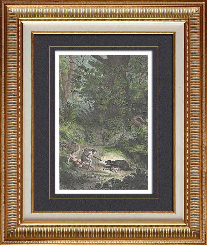 Gravures Anciennes & Dessins | Gran Chaco - Indiens attaqués par un jaguar (Amérique du Sud) | Gravure sur bois | 1861