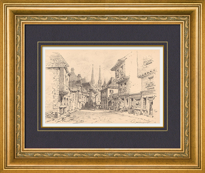Antique Prints & Drawings   View of Quimper - Old houses - Finistère - Brittany (France)   Lithography   1860