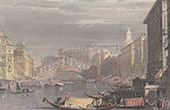View of Venice - Gondola - Rialto Bridge - Ponte di Rialto - Veneto (Italy)